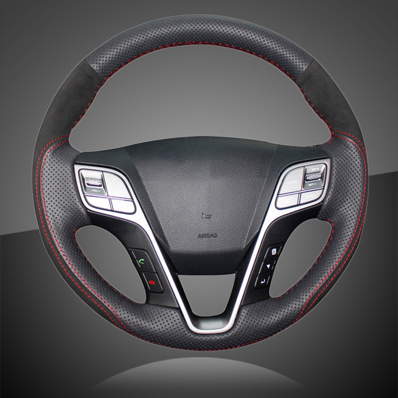 Hand-sewing Auto Braid On The Steering Wheel Cover for Hyundai Santa Fe 2013-2018 ix45 Car Steering Wheel Cover Car-Styling