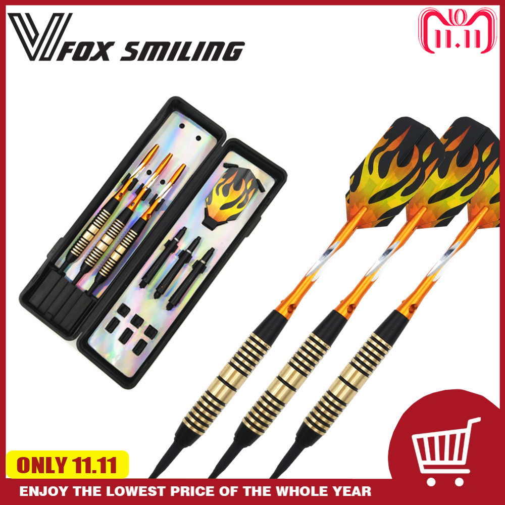Fox Smiling 3pcs Professional Electronic Soft Tip Darts 18g Darts With Aluminum Alloy Shaft Gold new cuesoul 3pcs set professional electronic tips darts tungsten darts soft tip 18g