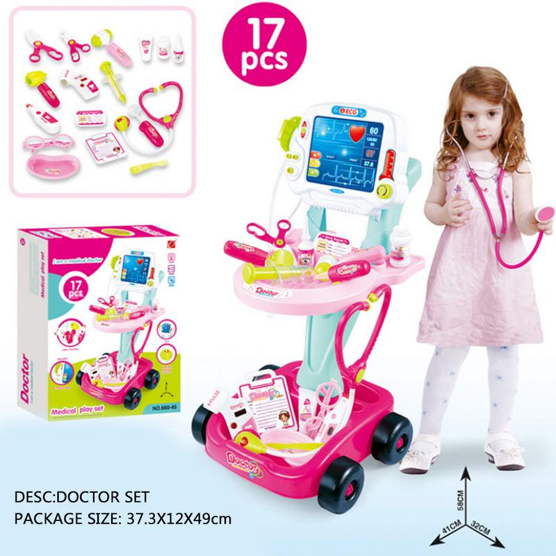 Simulation Electric Electrocardiogram Medical Kits Pretend Play Stethoscope Medicine Box Set Toy Trolley For Children
