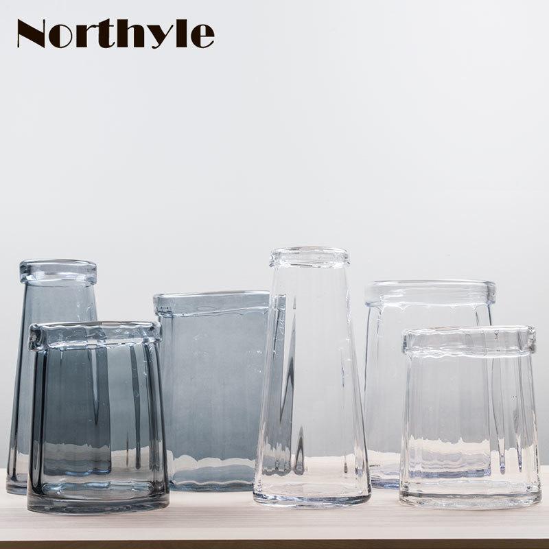 Elegant glass vase for flowers home decoration wedding decor terrarium modern floor pot