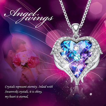 CDE Women Necklace Pendant Embellished with crystals from Swarovski Heart Necklace Valentines Gift Angel Wings Female Jewelry 1