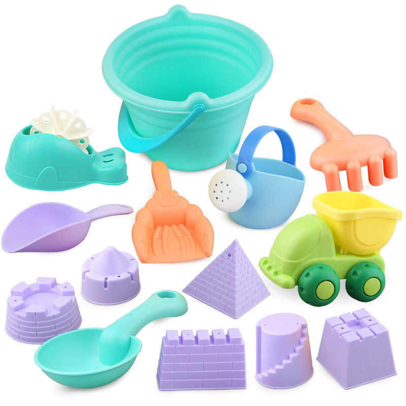 5-14PCS Summer Plastic Soft Baby Beach Toys Bath Play Set With Ducks Bucket Sand Tool Model Water Game Sand Playing For Kids HOT