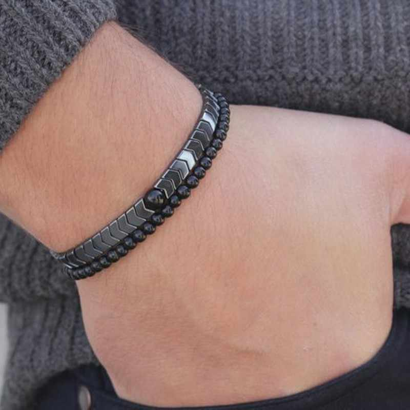 NEWELRY Fashion Men's Set Hematite Bracelets Simple handmade Diy Beaded Bracelet Punk Hiphop Cool Men Jewelry Pulseira Masculina