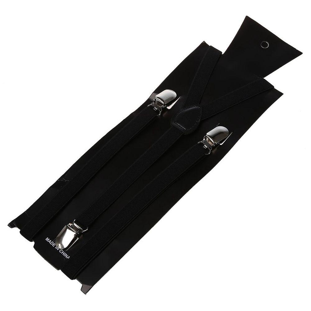 Men Women Clip, Elastic Straps Y-shaped Solid Straps 2.5 * 100 Cm Adjustable Black Unisex