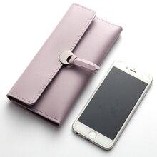 Ladies Long Wallet Tri-Fold Korean Zipper Buckle Soft Leather Solid Color Clutch