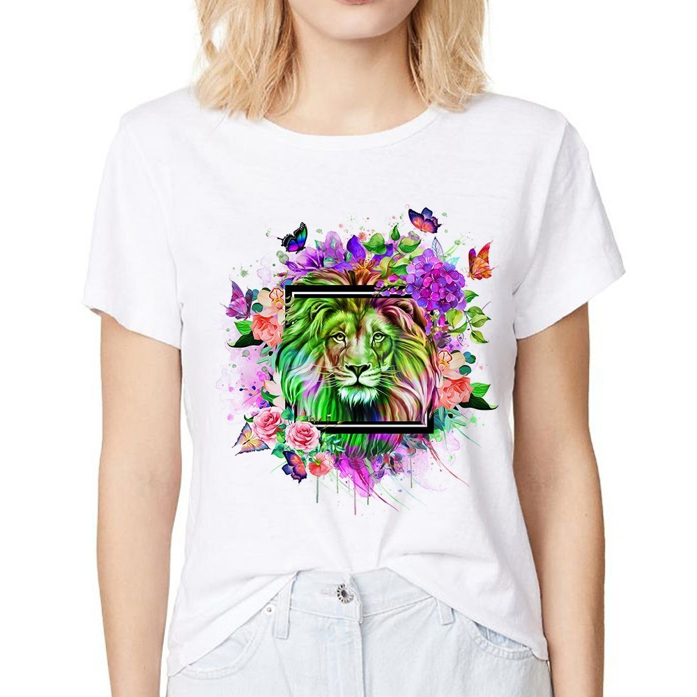 colorful lion with flower butterfly cool t shirt women summer new white casual short sleeve femme tshirt