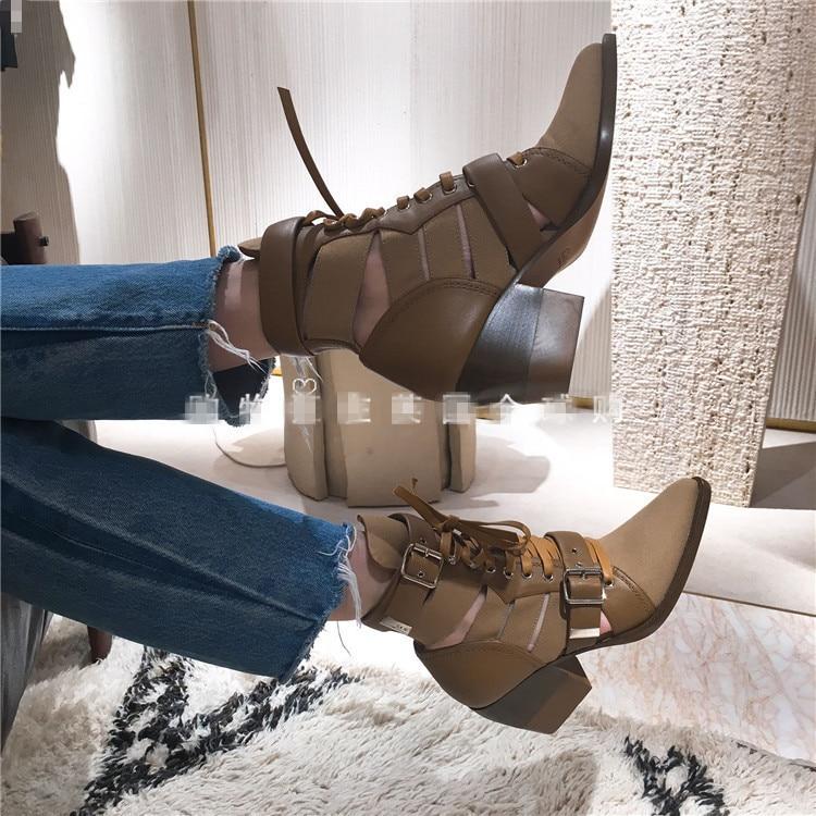 Nueva Cuero Weige Sze Más Pic Marea As Hueco De Tobillo Pic Mujer Casuales Botas as Zapatos Talones Señaló 4rxq14wH