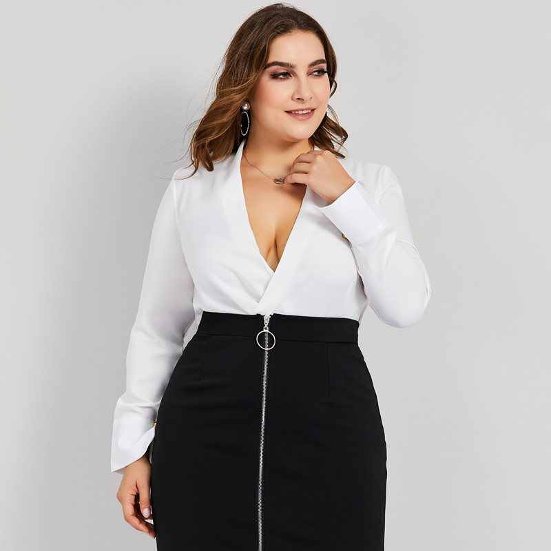 501ce72c73a Women Blouses Casual White OL Sexy Travel Plus Size 4XL Loose Linen Plain  Asymmetric Simple Fall