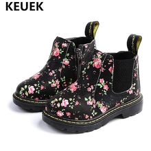 Kids Ankle Boots Girls Boys Baby Floral Flower Print Chelsea Boots Girls AutumnChildren Shoes size 21-36 02