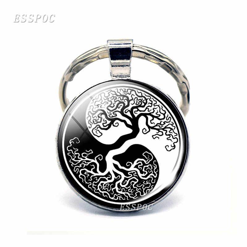Árvore da vida chaveiro arte foto jóias chaveiro moda feminina carro chaveiro anéis árvore da vida pingente presentes dos namorados