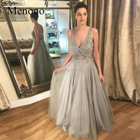 Amazing Grey A line Beading Evening Dresses V neck Sequined See Through Top Prom Gown Tulle Long Dress 2019