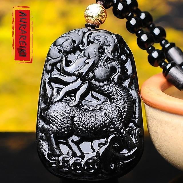 Pixiu Charm Necklace Obsidian