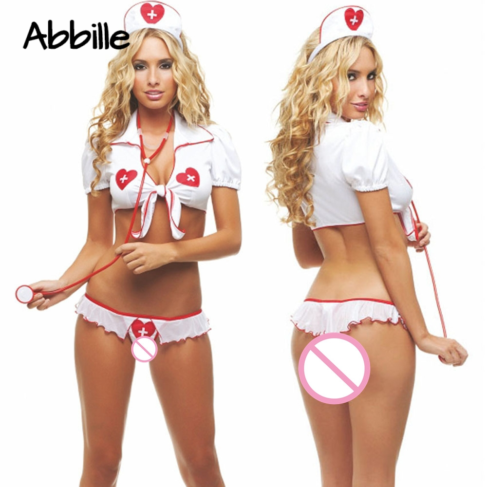 Buy Plus Size XXL Sexy Lingerie Hot Sexy Nurse Costumes Cosplay Porn Erotic Lingerie Sexy Role Play Babydoll Women's Sex Underwear