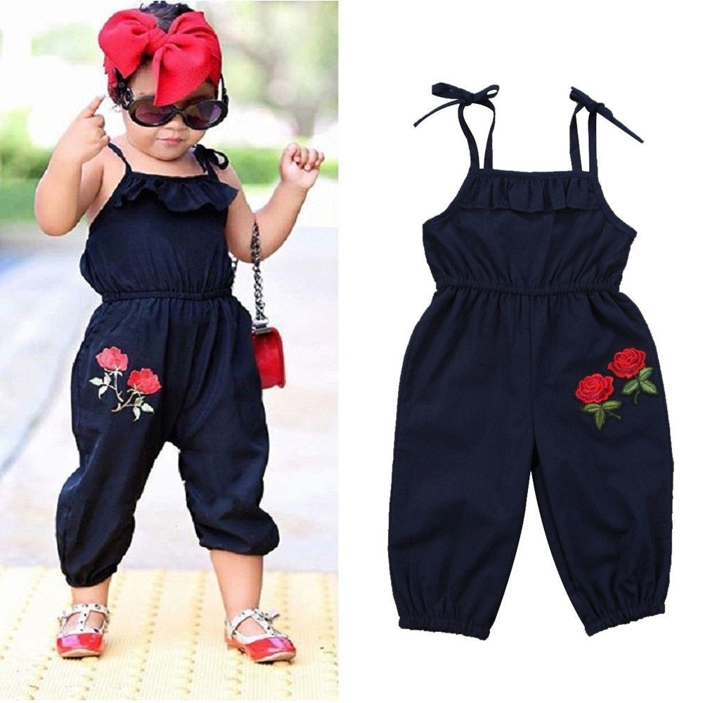 bae996f44 Self Tie embroidery Flower Overalls Jumpsuits for Toddler and Baby Girl ~  Super Deal June 2019