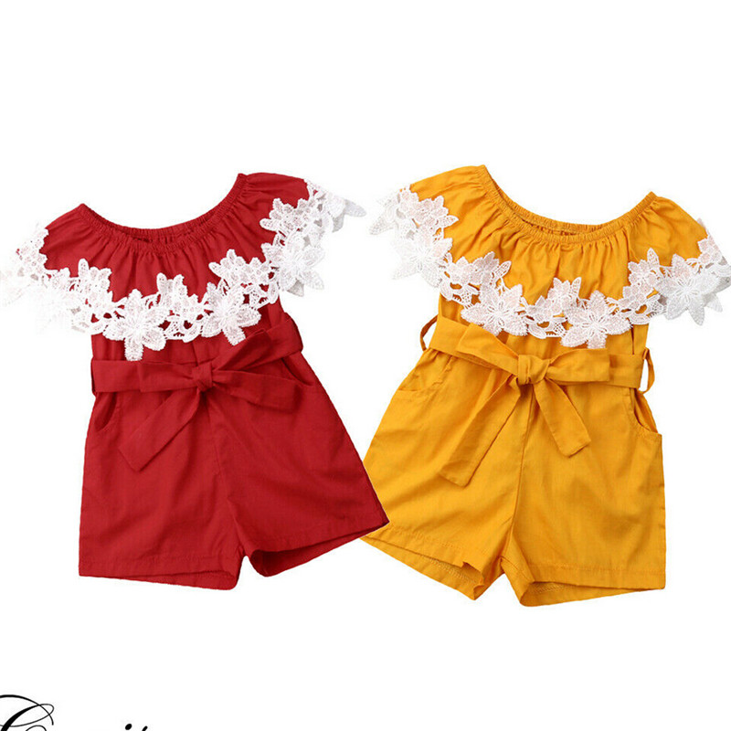 Hot Summer Newborn Baby Girls   Romper   Lace Flowers Off Shoulder Jumpsuit Bow Belt Pladsuit Baby Girl Sunsuit Cotton Clothes 0-24M