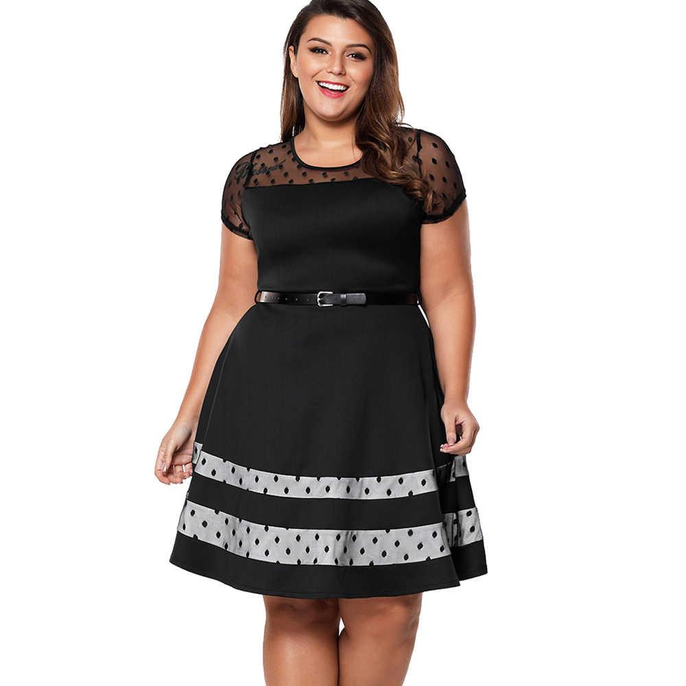 Wisalo горячая распродажа лето плюс размер женские элегантные полые ткань сетка короткий рукав контрастное цветное платье Vestidos