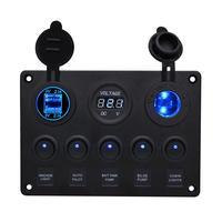 1 stück Kippschalter Panel 5 Gang Mit 2.1A Dual USB Ports Licht Anzeige Voltmeter Zigarette Leichter Für Auto Boot|Auto-Schalter & Relais|Kraftfahrzeuge und Motorräder -