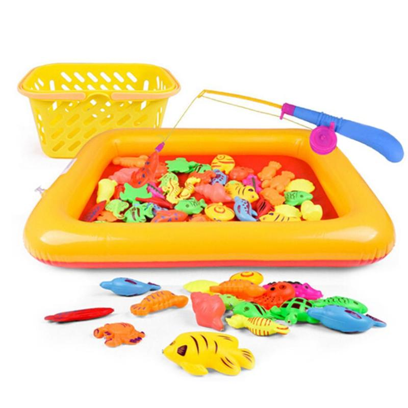 Outdoor Fun & Sports 50pcs/set Children Boy Girl Fishing Toy Set Suit Inflatable Pool Magnetic Play Water Fish Baby Toys Fish Square Gift For Kids