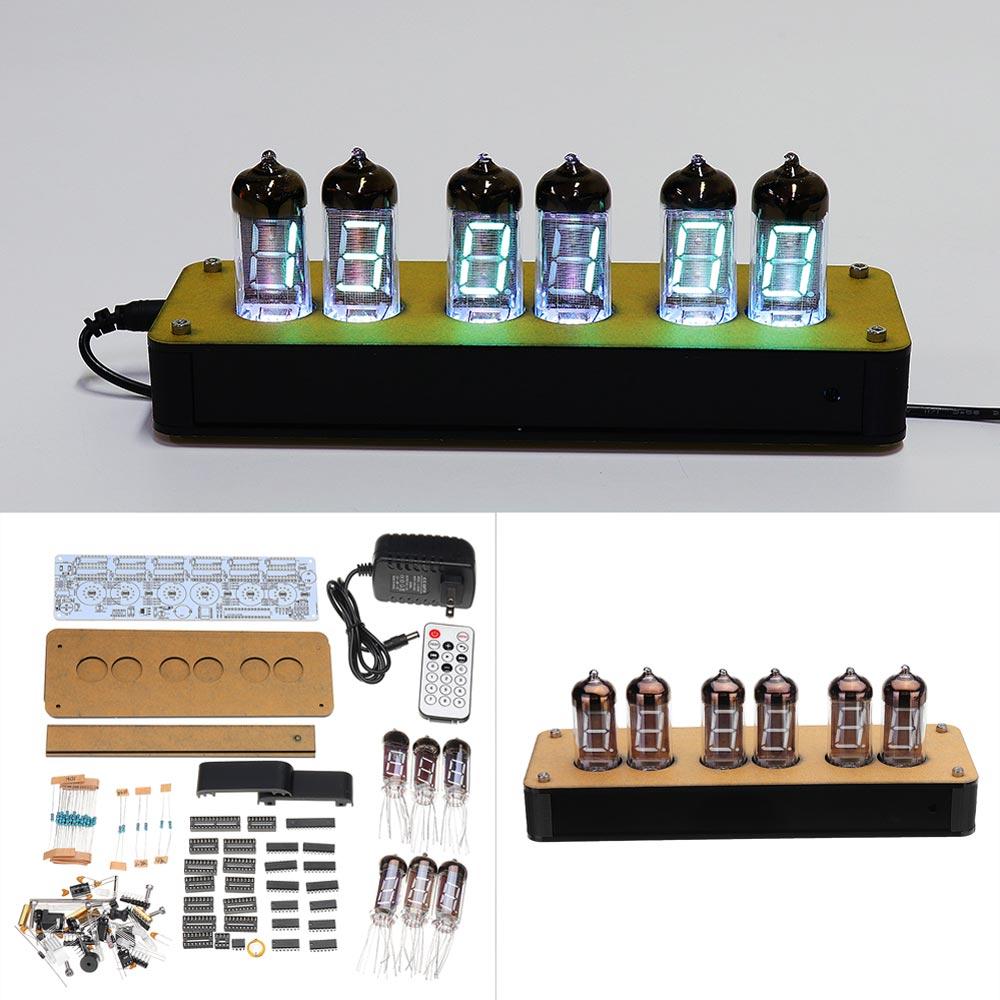 Télécommande 6 bits RGB LED lueur horloge numérique Nixie Tube horloge Kit bricolage électronique rétro bureau horloge chronomètre 5 V USB alimenté