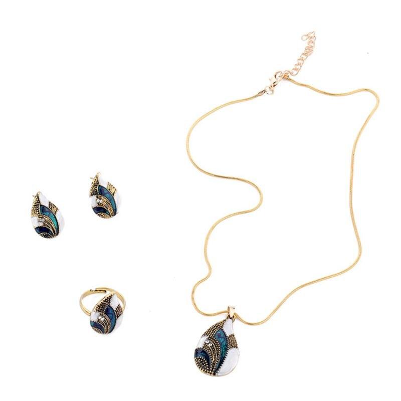 Women Geometric Water Drop Stud Earrings Chain Necklace Ring Jewelry Set