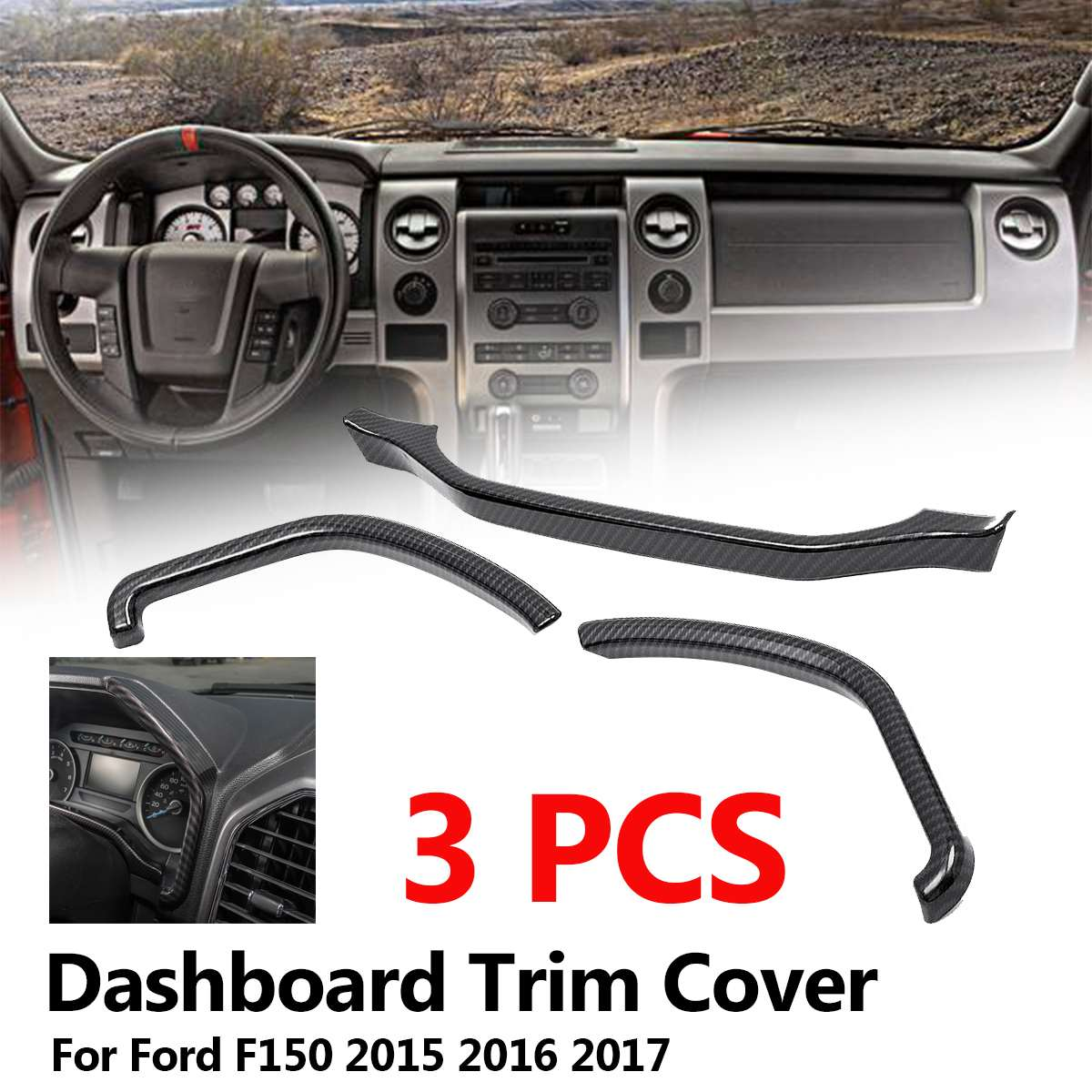 Auto Car Styling Interior Accessories Dashboard Trim Instrument Board Decorative Cover Strips Frame for Ford F150 2015 2016 2017