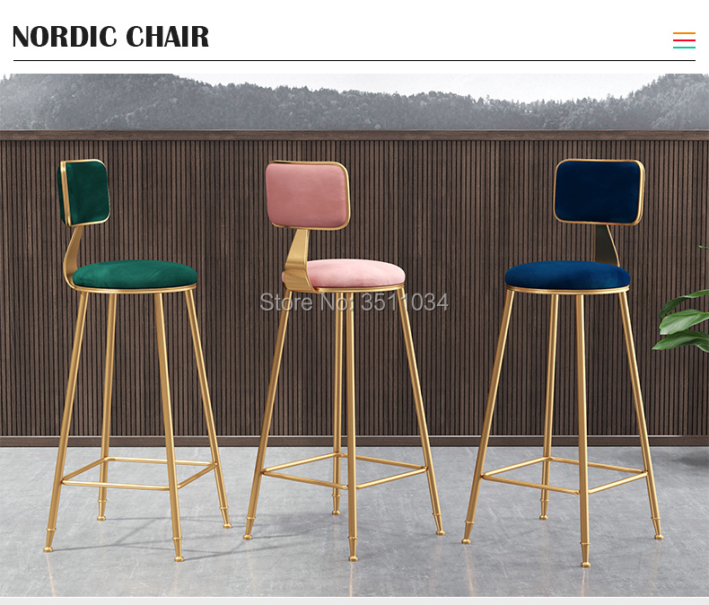Nordic ins simple golden bar chair 45cm/65cm/75cm with backrest high stool bar chair stool front dining room high bar stool backrest high chair beauty chair european front rotating lift bar barber stool round stool