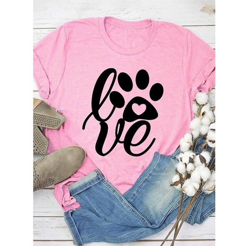 Ankunft Liebe Briefe Drucken T-Shirt Für Frauen Kurzarm Baumwolle T-shirt T-Shirt Frauen Weibliche Tops Weg Von Der Schulter Lustige Plus