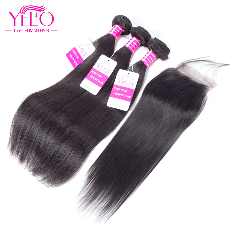 YELO Closure Human-Hair-Bundles Lace Straight Brazilian with Free-Middle Three-Part 4--4