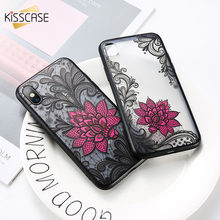 KISSCASE Lace Rose Case For Huawei Y3 Y5 Y6 2017 Y7 Prime 2019 Y9 Phone Cover For Huawei Honor Mate 10 20 Pro 9 lite P30 Pro 8(China)