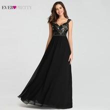 Elegant Black Prom Dresses Long Appliques A Line V Neck Sleeveless Spaghetti Strap Women Party Evening Gowns Prom Dresses 2020