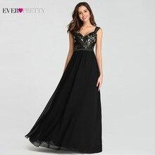 エレガントな黒のウェディングドレスロングアップリケaラインvネックノースリーブスパゲッティストラップ女性パーティーイブニングドレスウエディングドレス 2020