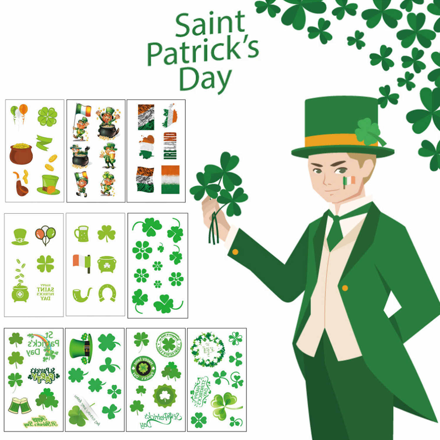 Detail Feedback Questions about Behogar 10 Sheet Saint St Patricks Day  Temporary Tattoo Face Body Arms Stickers for Irish Fun Party Celebration  Supplies on ... 59f446594561