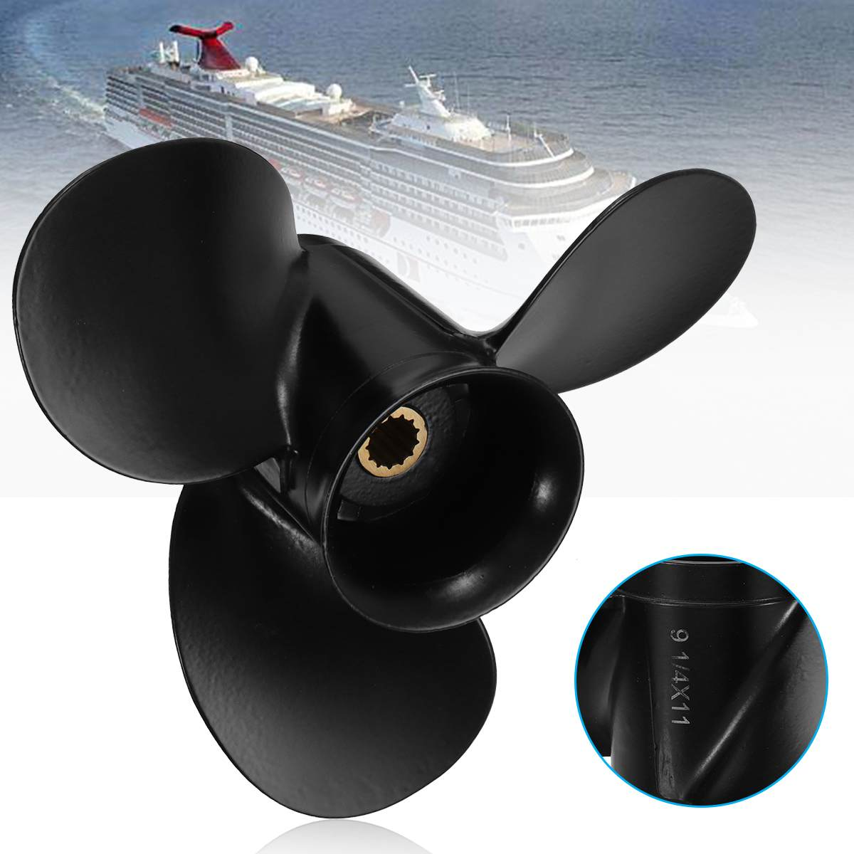 174817 / 778773 Aluminum Alloy 9 1/4 X 11 Outboard Propeller For Johnson/Evinrude/OMC 8-15HP Black 3 Blades 13 Spline Tooth