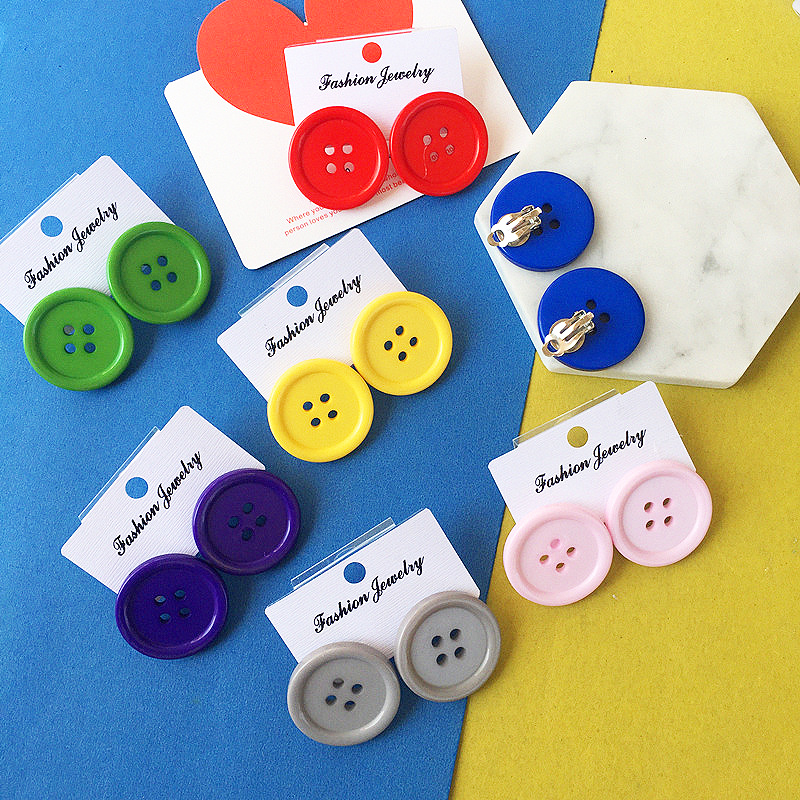 Korean style cute Circle Button stud earrings Colorful Vintage round geometry red yellow blue stud earrings for women jewelry in Stud Earrings from Jewelry Accessories