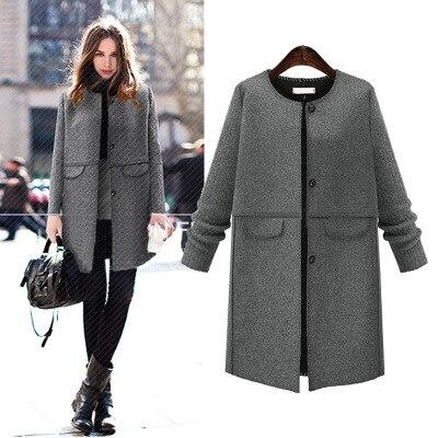 Ol Herbst Und Winter Jacke Woolen Mantel Mode Warme Mäntel Wolle Mantel Frauen Plus Größe 5xl MÄntel Grau Jacke 2019