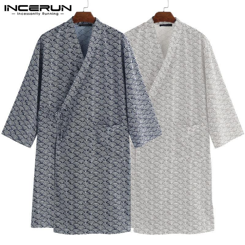 2019 Mode Kimono Robe Männer Bademantel Japan Stil Loungewear Nachtwäsche Männlichen Nachtwäsche Kleidung Robe Pyjamas Bad Dressing Kleid GläNzende OberfläChe