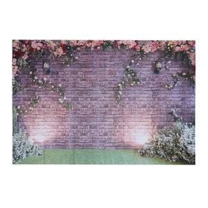 Image 2 - 장식 로맨틱 벽돌 벽 꽃 생일 파티 비닐 사진 배경 웨딩 장식 배경 스튜디오