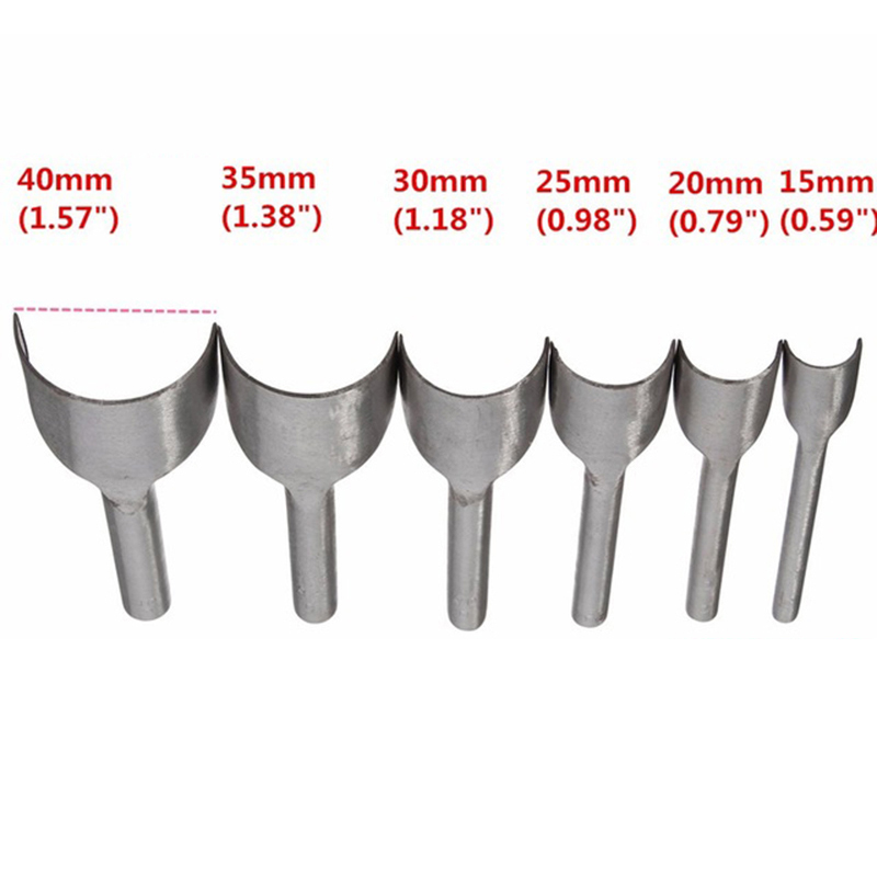 7Pcs Leather Punching Mold 20-50mm One Hole Hollow Semicircle Shape Craft Tool for Strap Bag Belt Wallet Making