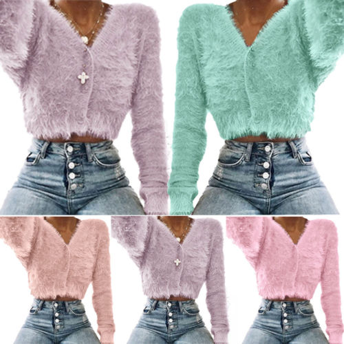 HIRIGIN Jumper Winter Sweater-Tops Short Pullover Warm-Fur Long-Sleeve Women V-Neck Lady
