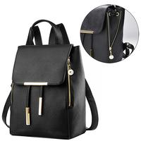 Ladies PU Leather Backpacks Preppy Style Drawstring School Bags For College Girls Buckle Flap Cover Woman Backpack Purses