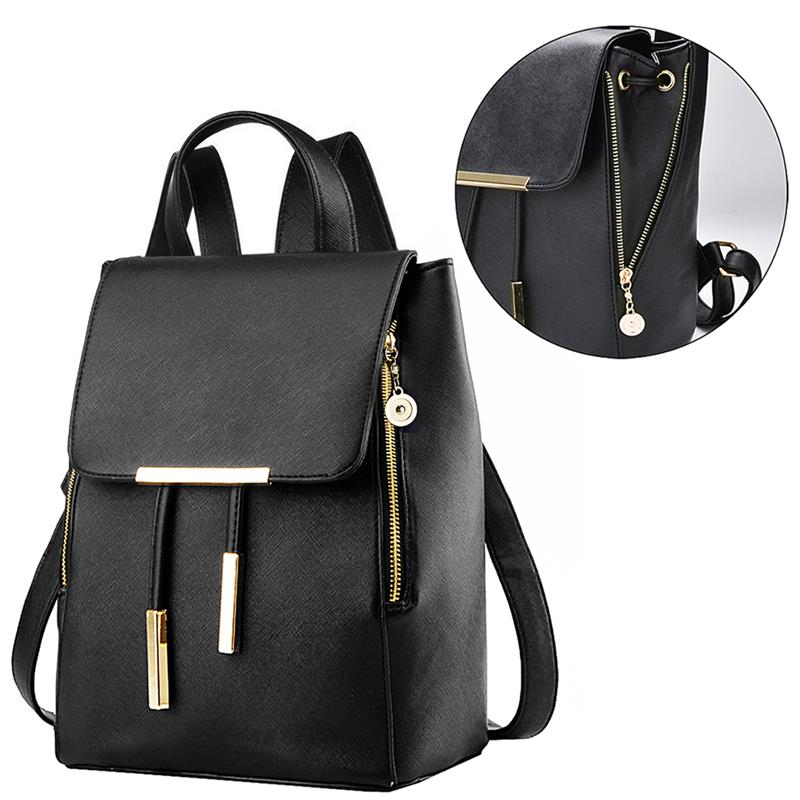 Sacs à dos en cuir PU pour femmes sacs à dos Style Preppy cordon d'école pour les filles du collège boucle rabat couverture femme sac à dos sacs à main