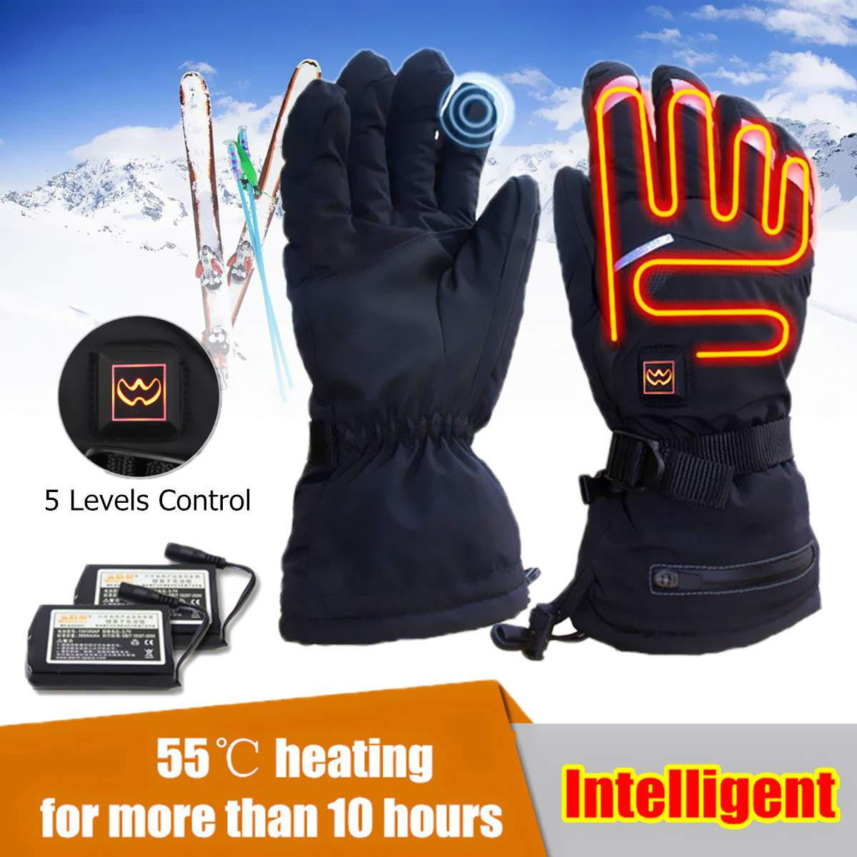 1 Pair Electric Heated Gloves Battery Powered Thermal -3088