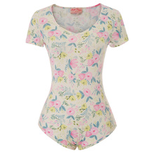 25640c972431 fashion bohemian summer beach Rompers Sexy Women s Floral Pattern Short  Sleeve jumpsuit lolita V-Neck