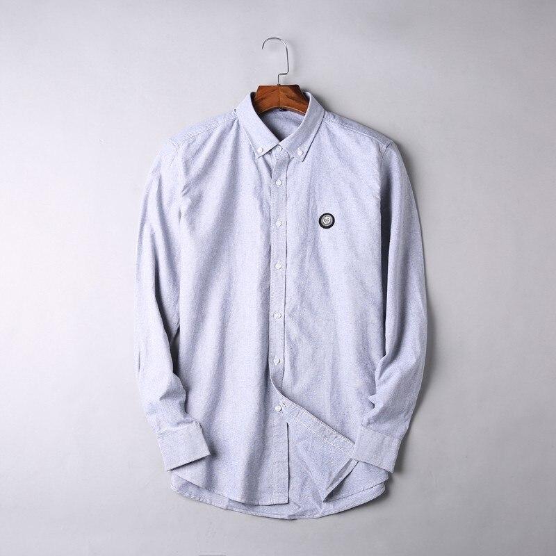 2019 nouveau 8XL 7XL 6XL 5XL grande taille haute qualité hommes chemise à manches longues Twill solide formelle chemise d'affaires marque homme chemises habillées - 3