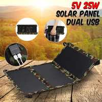 Portable 25W 5V Solar Panel Folding Foldable Waterproof Charger Mobile Power Bank for Phone Battery Dual USB Port