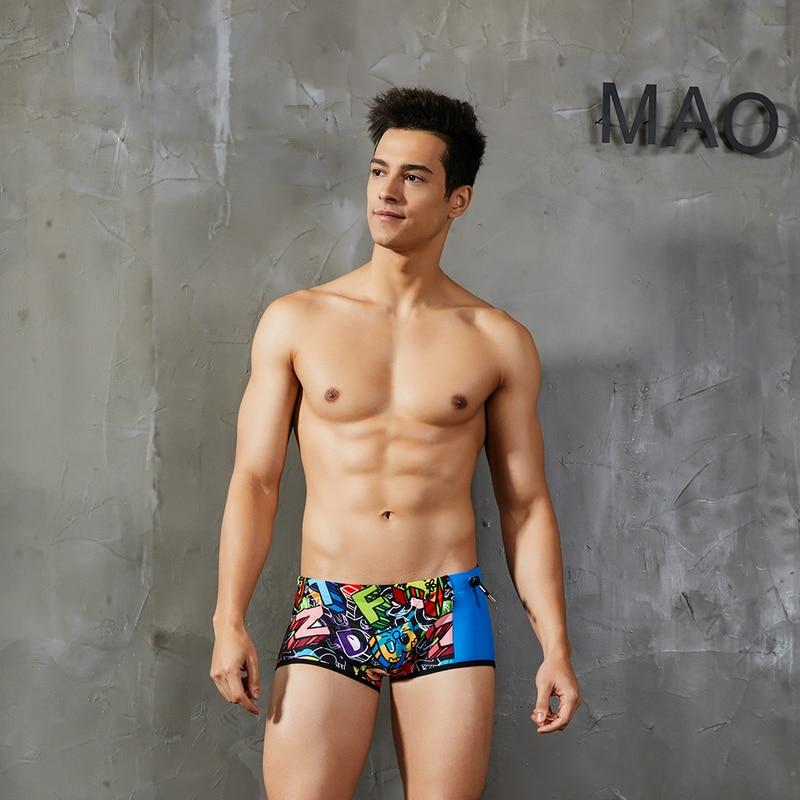 Hank Wolf Men Low Rise Swimwear Men 39 s Blue Patchwork Swim Trunks Gay Printed Bikini Swimsuit M XL Bathing Suit Swimming Shorts in Men 39 s Trunks from Sports amp Entertainment
