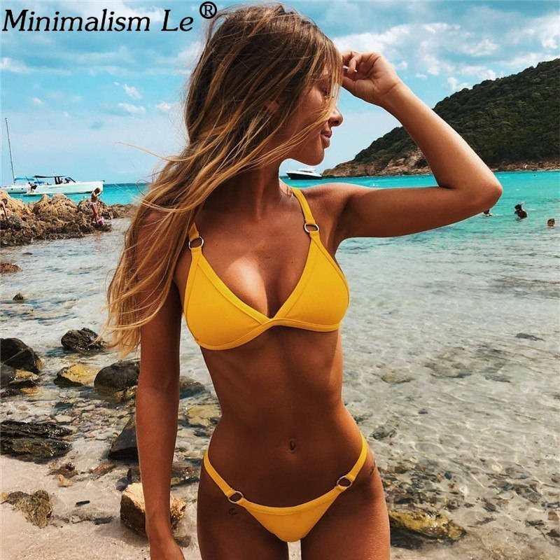 Women Sexy Solid Bikini Set Low Waist Brazilian Bathing Suit Swimwear Summer Swimsuit Female Yellow Beach Wear BiquiniWomen Sexy Solid Bikini Set Low Waist Brazilian Bathing Suit Swimwear Summer Swimsuit Female Yellow Beach Wear Biquini