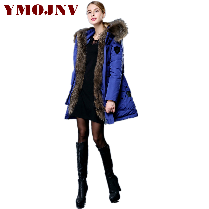 YMOJNV Fashion Winter   Down     Coat   Women Oversized Real Raccoon Fur Collar   Down   Jackets Warm Parka Female Thicken Winter Jacket