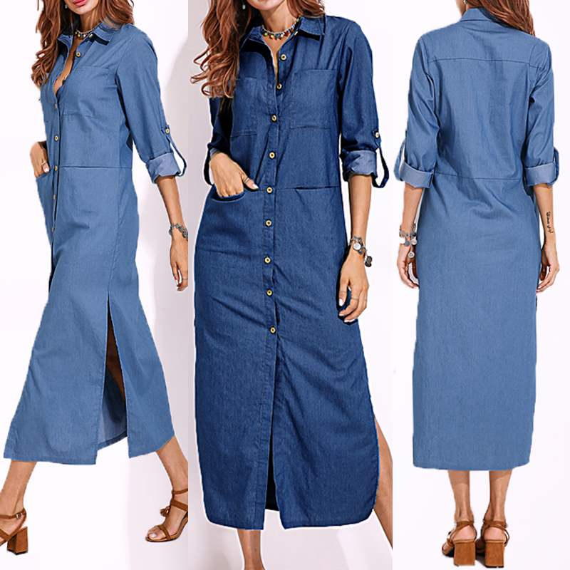2019 Plus Size ZANZEA Spring Elegant Work OL Sundress Women Casual Lapel Long Sleeve Long Shirt Vestido Fashion Denim Blue Dress