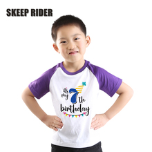 Purple Raglan Short Sleeve Boys Birthday Tshirt 1 2 3 4 5 6 7 Years Old Number Print Toddler Kids T Shirt T0422-040
